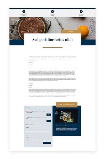 Divi bistro blog post template