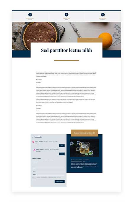 Divi bistro blog post template