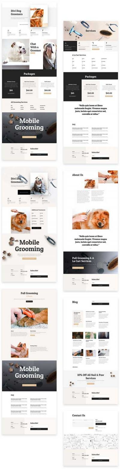 Divi dogo grooming website templates