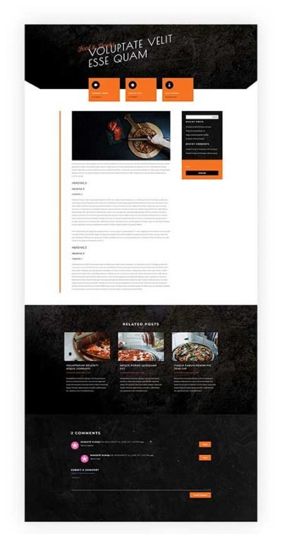 Divi pizzeria blog post template