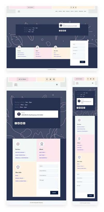 Divi womens header footer