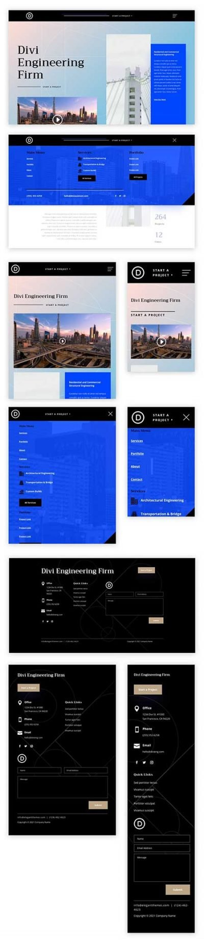 Divi engineering header footer