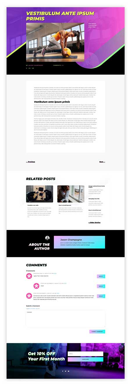 Divi fitness blog post layout