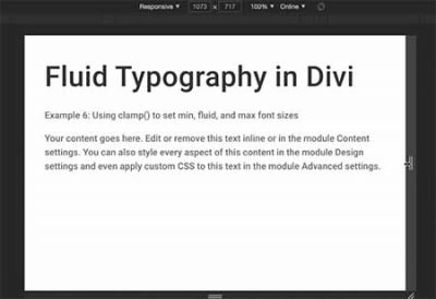 Divi fluid text