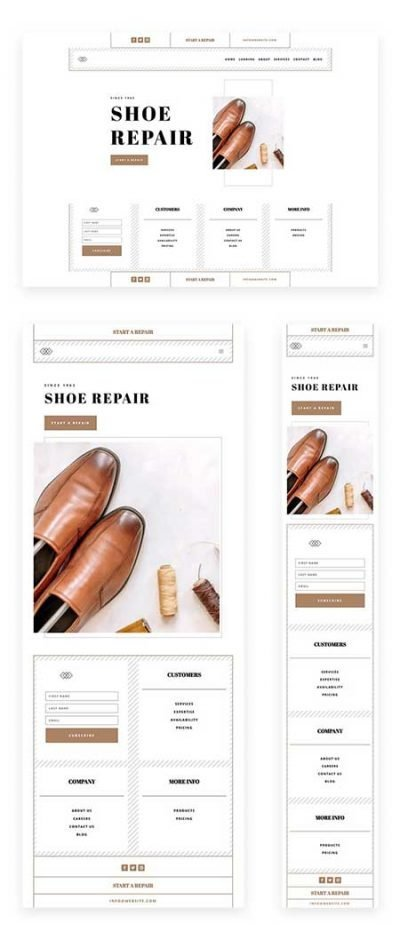 Divi shoe repair header and footer template