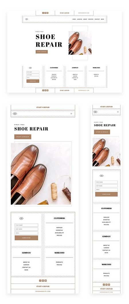 Divi shoe repair header and footer template