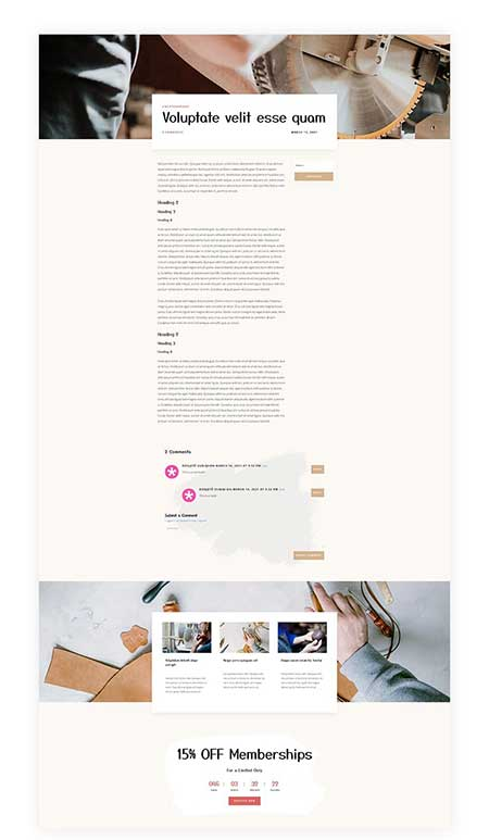 Blog Post Template for Divi's Craft School