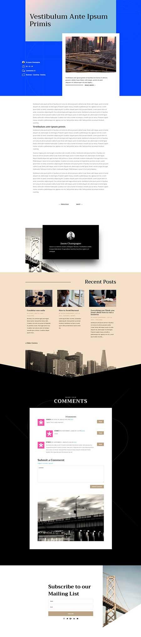 Divi Buulder blog post template