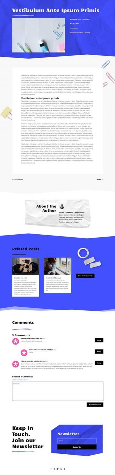 Divi classroom blog post template
