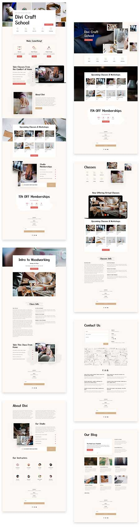 Use this Divi website template pack to create your craft classes website. This Divi layout pack comes with 7