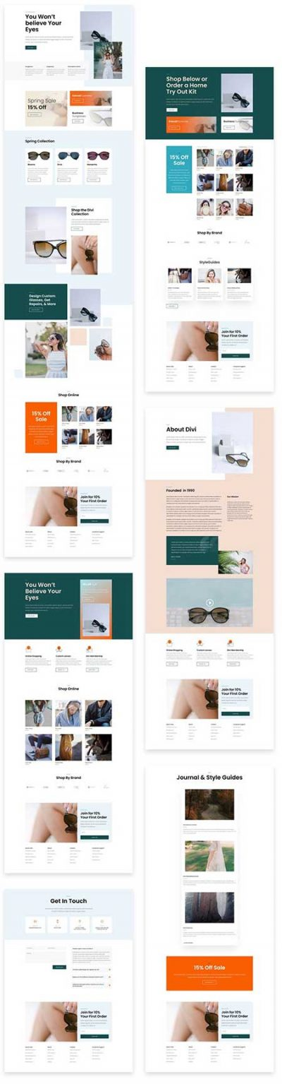 Divi sunglasses shop layouts