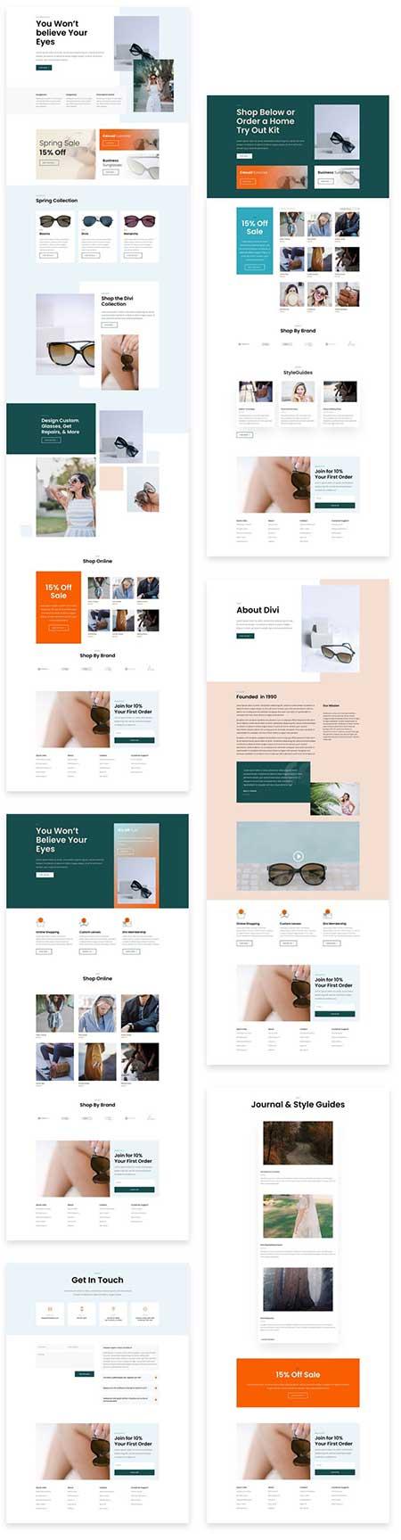 Divi sunglasses shop layouts