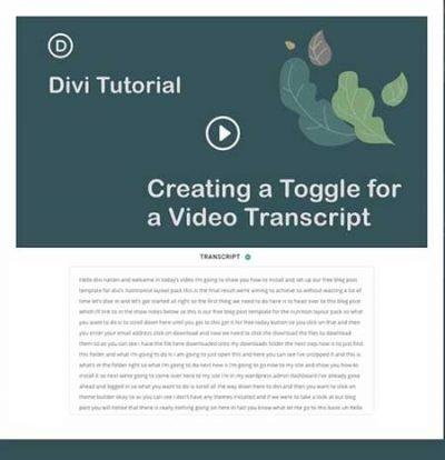 Video transcript toggle template