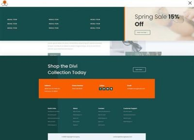 Sunglassed Divi header footer