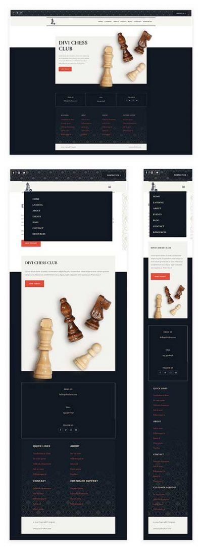 Divi chess club header footer template