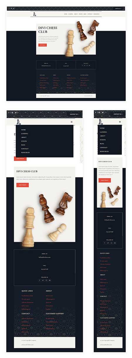 Divi chess club header footer template