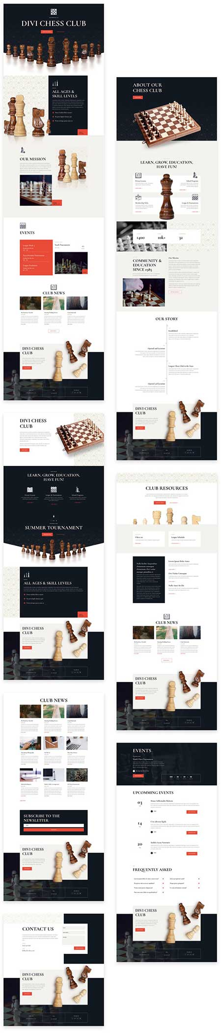 chess club layout for Divi