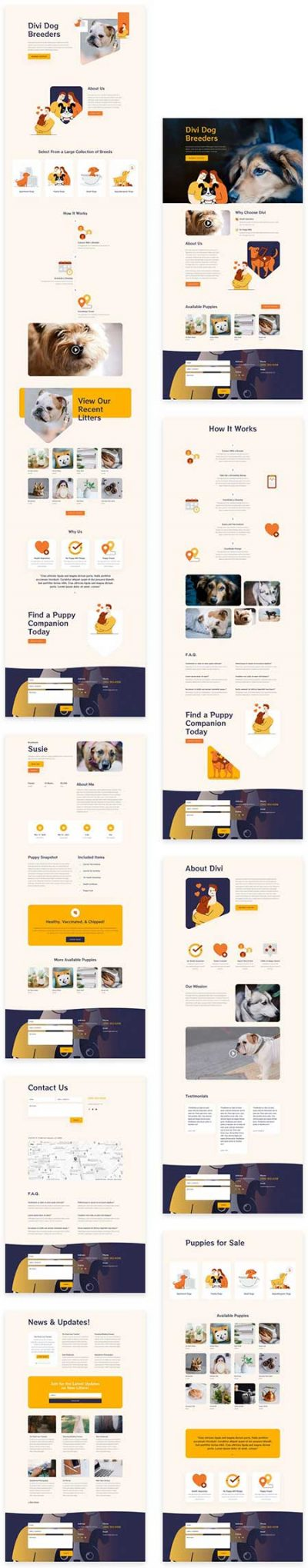 Divi dog breeder website templates