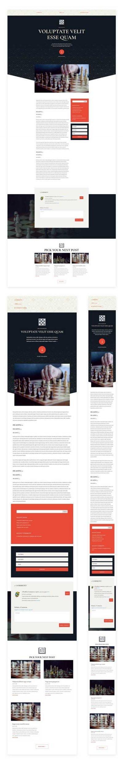 Divi chess club blog post template