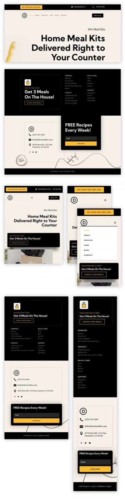 Divi meal kit header & footer