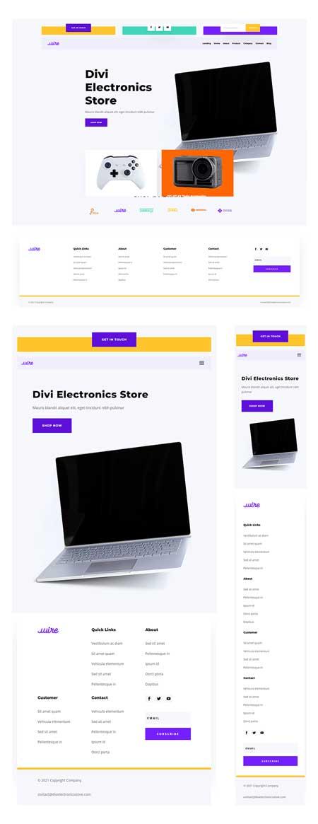Divi Electronics Store Header & Footer
