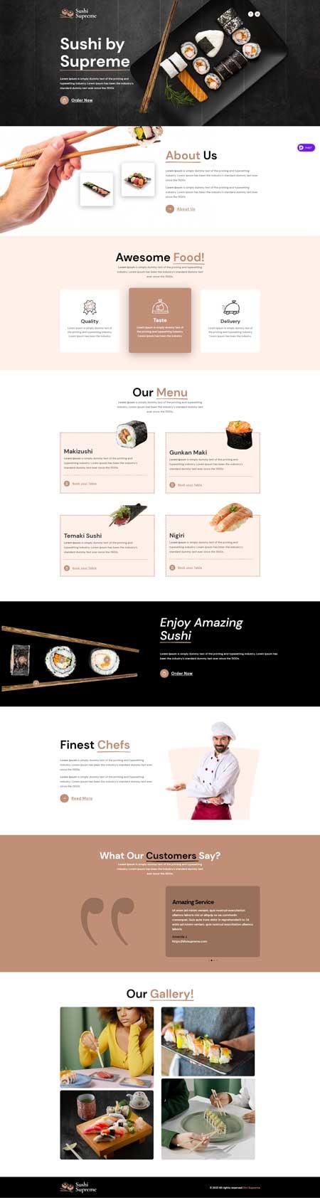 Divi Food Landing Page