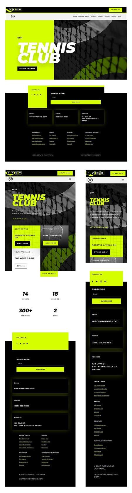 Divi Tennis Club Header & Footer