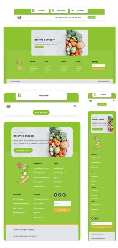 Grocery Delivery Header & Footer