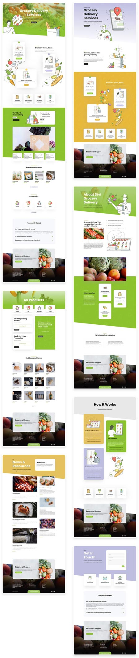 Divi Grocery Delivery Layout Pack