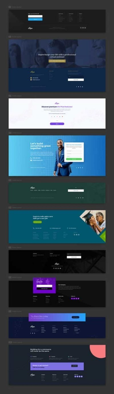 Divi Free Footer Layout Pack for Divi
