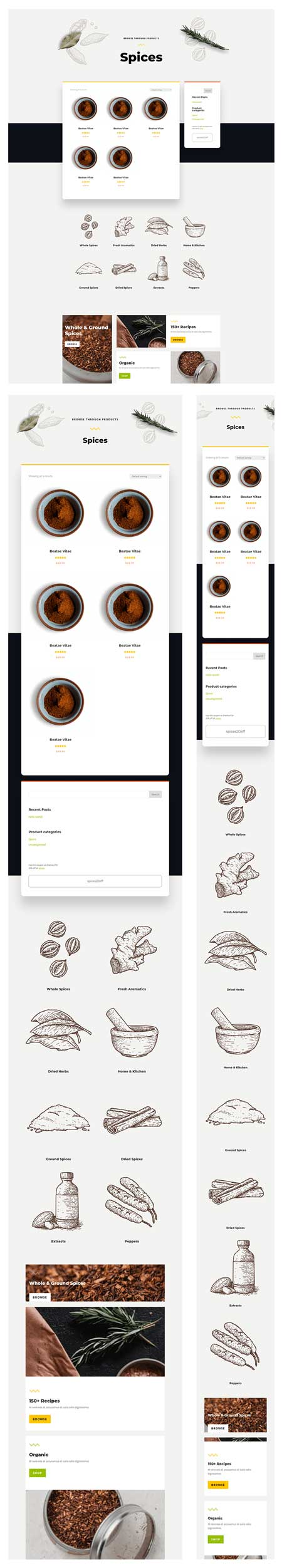 Divi Spice Shop Product Category Page Template