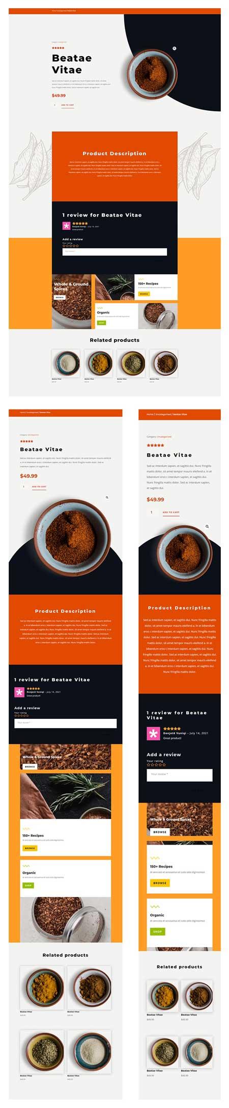 Divi Spice Shop Product Page Template