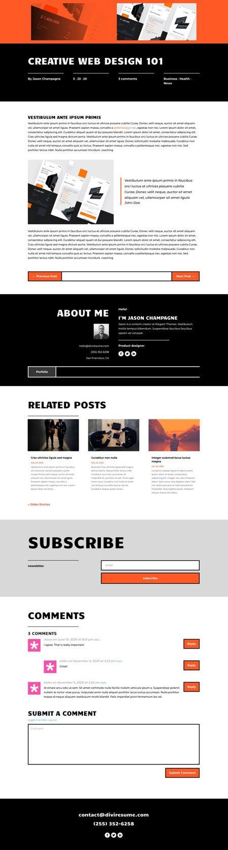 Divi Creative CV Blog Post Template