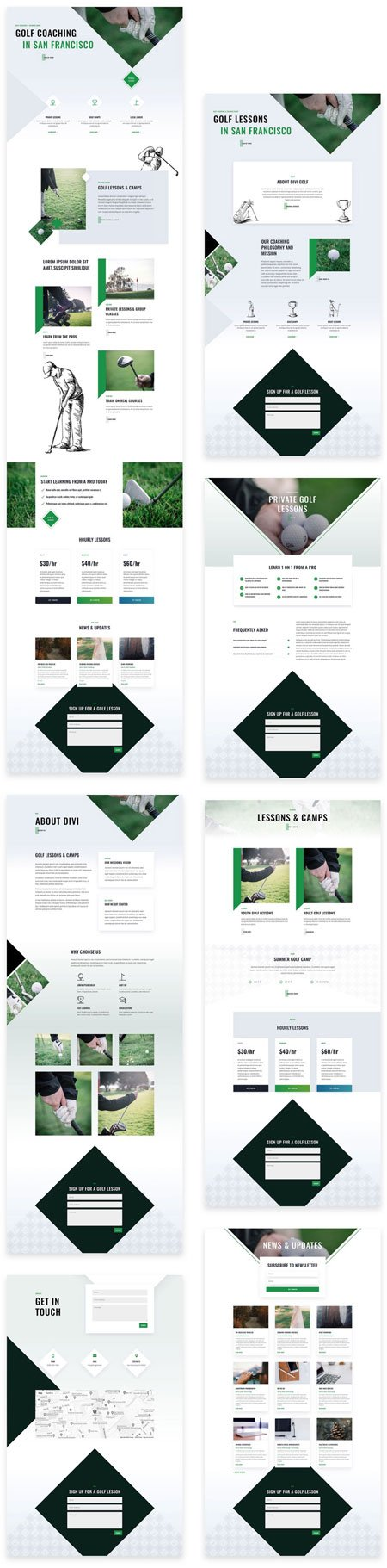 Divi Golf Lessons Layout Pack