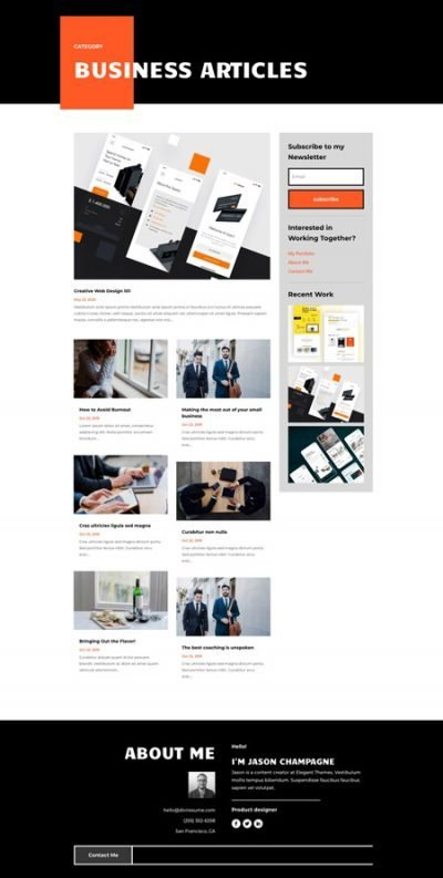 Divi Creative CV Category Page Template