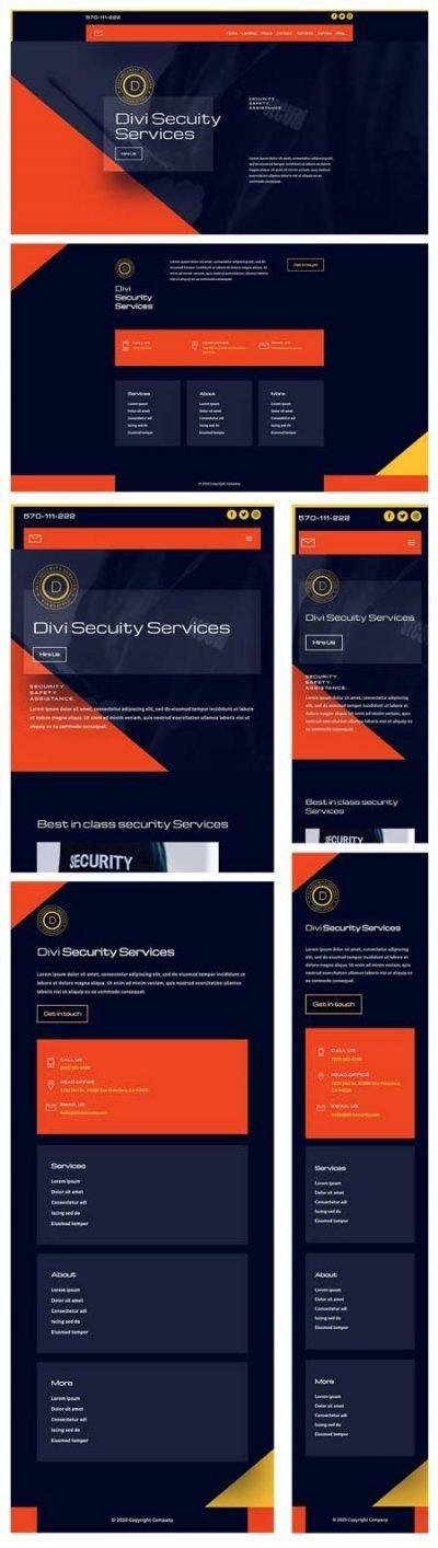 Divi Security Services Header & Footer